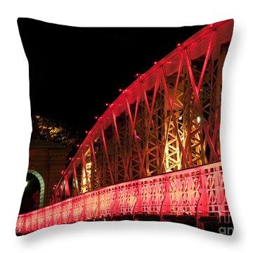 Singapore Anderson Bridge At Night Throw Pillow