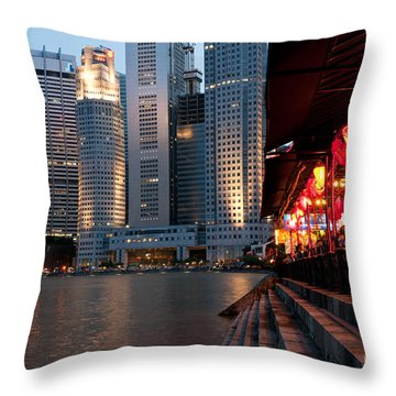 Singapore Boat Quay 02 Throw Pillow