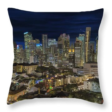 Singapore Central Business District Skyline And Chinatown At Dus Throw Pillow by David Gn