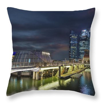 Singapore City By The Fullerton Pavilion At Night Throw Pillow by David Gn
