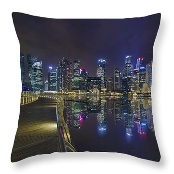 Singapore City Skyline Along Marina Bay Boardwalk At Night Throw Pillow by David Gn