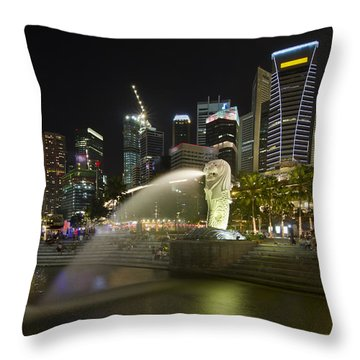Singapore City Skyline At Merlion Park Throw Pillow by David Gn