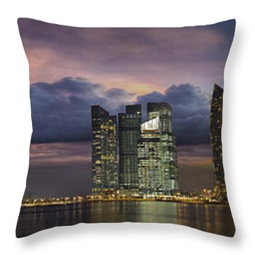Singapore City Skyline At Sunset Panorama Throw Pillow