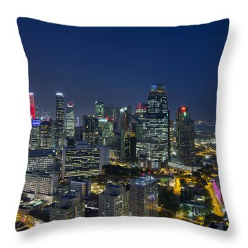 Singapore Cityscape At Blue Hour Throw Pillow by David Gn