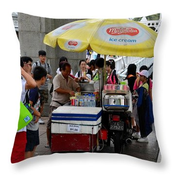 Singapore Ice Cream Man And Bicycle Swamped By Students Throw Pillow by Imran Ahmed