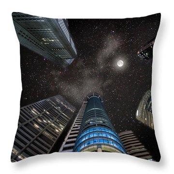 Singapore Moon Sky Throw Pillow