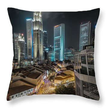 Throw Pillow featuring the photograph Singapore Nights by John Swartz
