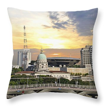 Singapore Parliament Building And Supreme Law Court  Throw Pillow by David Gn