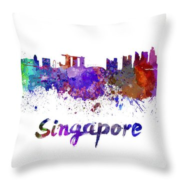 Singapore Skyline Throw Pillows
