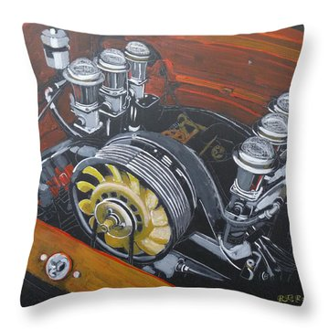 Singer Porsche Engine Throw Pillow