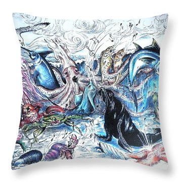 Singing Beach Throw Pillow by James Oliver