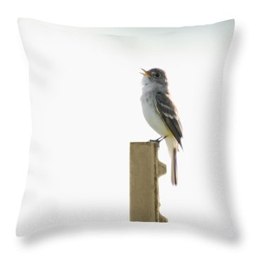 Singing Flycatcher Throw Pillow