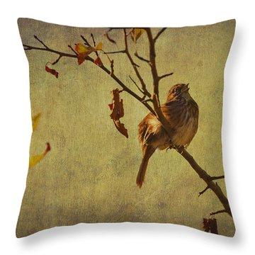 Throw Pillow featuring the photograph Singing Sparrow by Peggy Collins