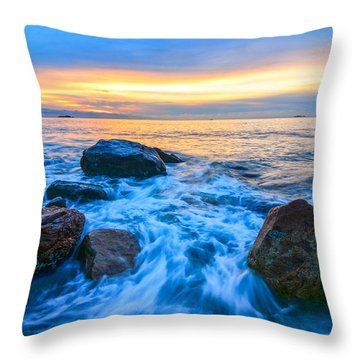 Singing Sunrise Singing Beach Throw Pillow by Michael Hubley