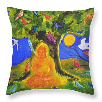 Buddha And The Birds Throw Pillow