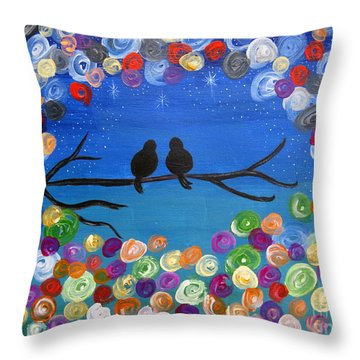 Singing To The Stars Tree Bird Art Painting Print Throw Pillow