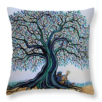 Singing Under The Blues Tree Throw Pillow