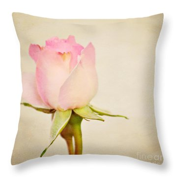 Single Baby Pink Rose Throw Pillow