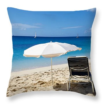 Single Beach Chair And Umbrella On Throw Pillow