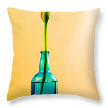 Single Calla In Blue Bottle Throw Pillow