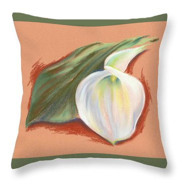 Single Calla Lily And Leaf Throw Pillow