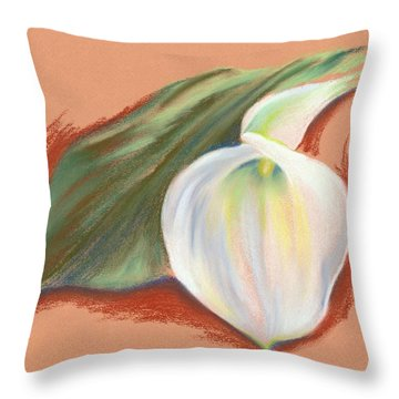 Single Calla Lily And Leaf Throw Pillow by MM Anderson