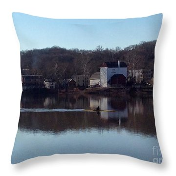 Single Scull On The Delaware Throw Pillow