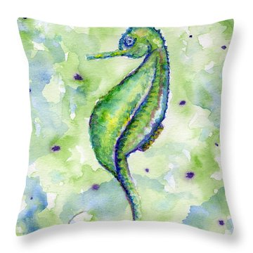 Single Seahorse Blues Throw Pillow
