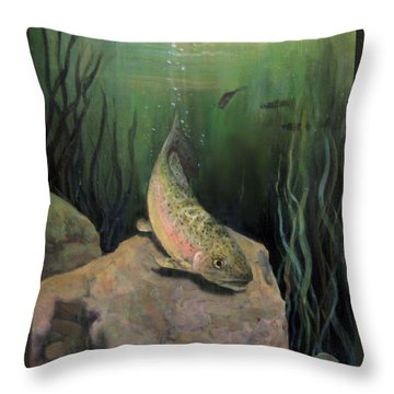 Single Trout Throw Pillow