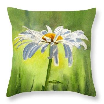 Single White Daisy  Throw Pillow by Sharon Freeman