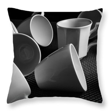 Throw Pillow featuring the photograph Singled Out - Coffee Cups by Steven Milner