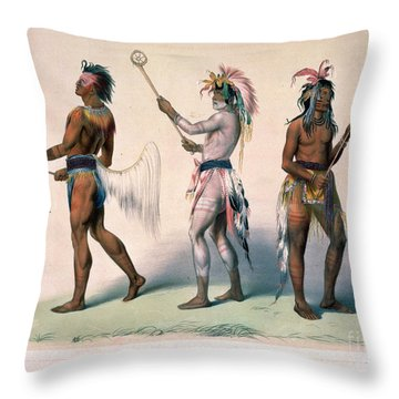 Sioux Lacrosse Players Throw Pillow by Granger