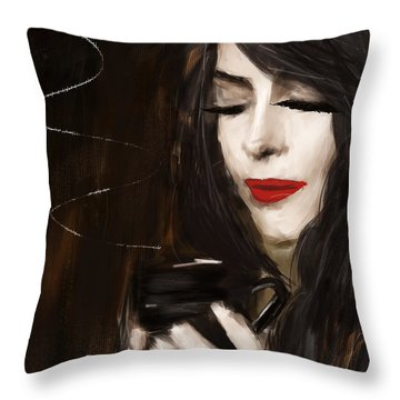 Sip Of Relaxation Throw Pillow by Lourry Legarde
