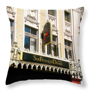 Sir Francis Drake Hotel Throw Pillow by Connie Fox