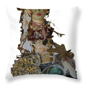 Throw Pillow featuring the sculpture Siren by Avonelle Kelsey
