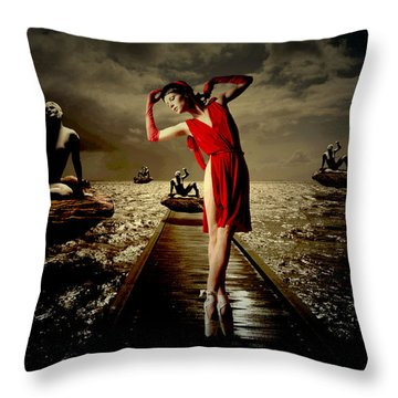 Throw Pillow featuring the digital art Siren by Galen Valle