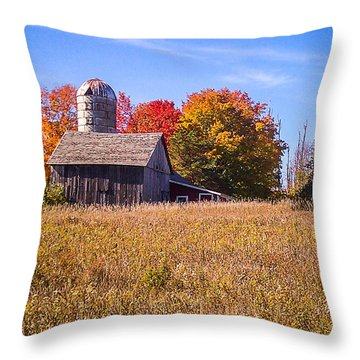 Sister Bay Barn Throw Pillow