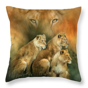 Sisterhood Of The Lions Throw Pillow by Carol Cavalaris