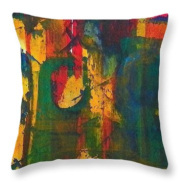 Throw Pillow featuring the painting Sisters by Anna Ruzsan
