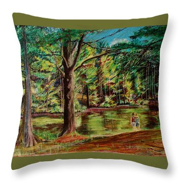 Sisters At Wason Pond Throw Pillow