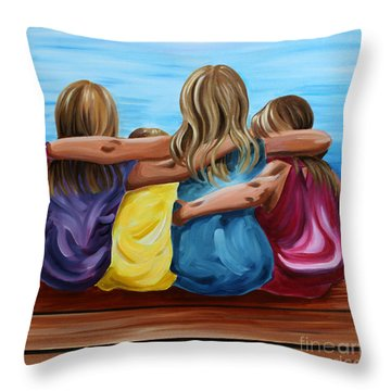 Sisters Throw Pillow by Debbie Hart