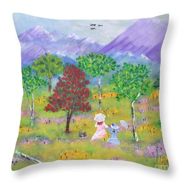 Throw Pillow featuring the painting Sisters by Denise Tomasura