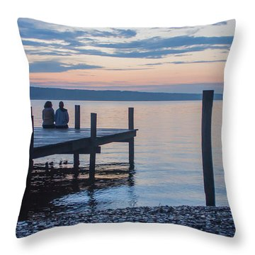 Sisters - Lakeside Living At Sunset Throw Pillow