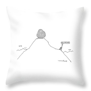 Sisyphus Balances The Boulder At The Top Throw Pillow