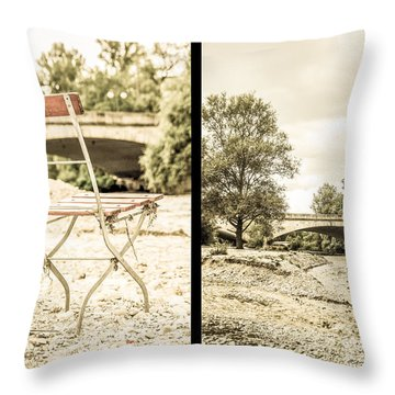 Sit Down... Black Throw Pillow by Hannes Cmarits