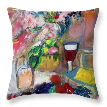 Sit Down To Cheese And Fruit Throw Pillow