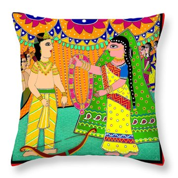 Sita's Wedding Throw Pillow by Latha Gokuldas Panicker