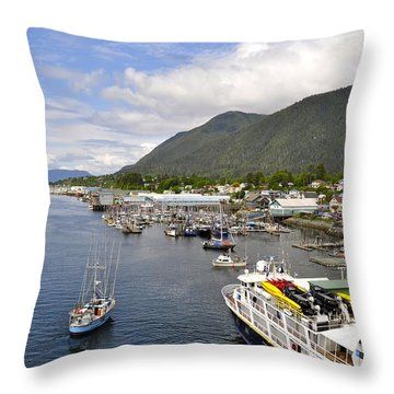 Sitka Channel Throw Pillow by Cathy Mahnke
