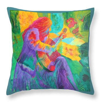 Throw Pillow featuring the painting Sit'n And Pick'n by Nancy Jolley