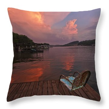 Sittin' On The Dock Throw Pillow by Dennis Hedberg